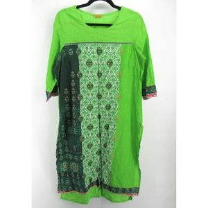 Aurelia Tunic Caftan Dress Lightweight Green